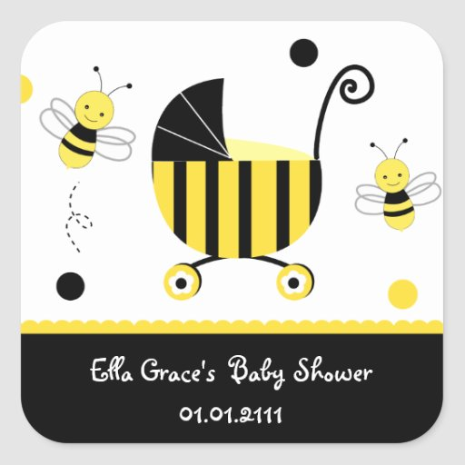 Bumble Bee Baby Shower Favour Stickers Labels
