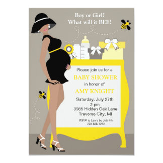 Bumble Bee Baby Shower Invitations - African Ameri