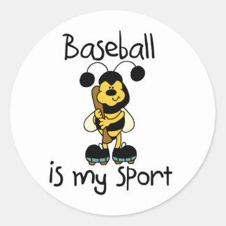 Bumble Bee Baseball Sport Round Sticker