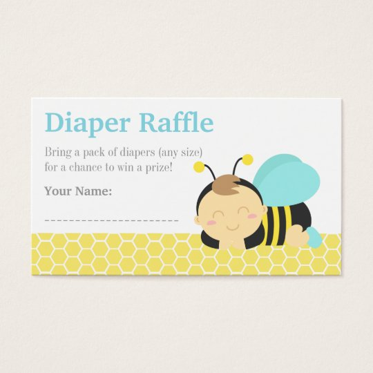 Bumble Bee Boy Baby Shower, Diaper Raffle Tickets
