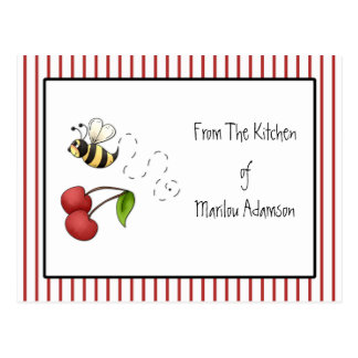 Bumble Bee Cherries Recipe Cards Postcard