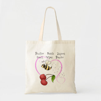 Bumble Bee Cherry Pink Heart Baby Supplies Budget Tote Bag