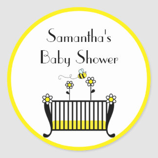 Bumble Bee Crib Baby Shower Round Stickers
