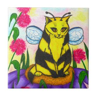 Bumble Bee Fairy Cat Fantasy Art Tile