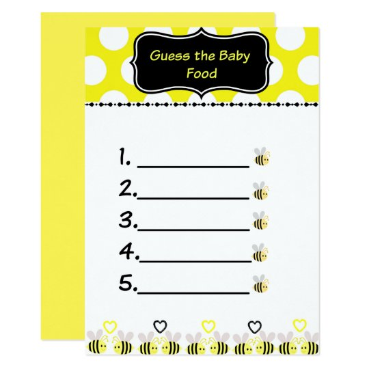 Bumble Bee Guess The Baby Food Baby Shower Game Invitation Zazzle