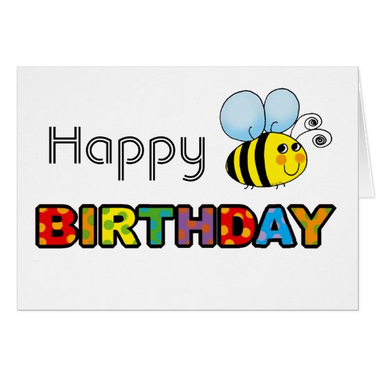 Bumble bee happy birthday card