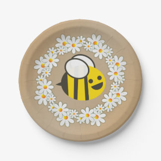 Bumble Bee In A Daisy Wreath Birthday Party Paper Plate