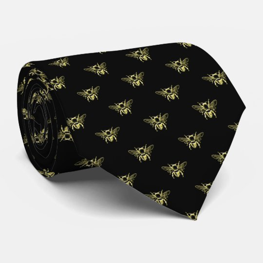 Bumble Bee in Gold Your Background Colour Tie