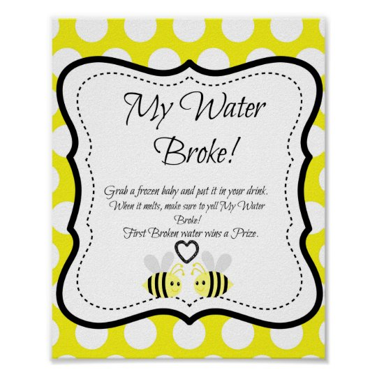 Bumble Bee My Water Broke! Baby Shower Game