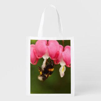 Bumble Bee on Bleeding Heart Flowers Grocery Bag