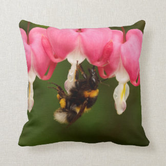 Bumble Bee on Bleeding Hearts Throw Pillow Cushion