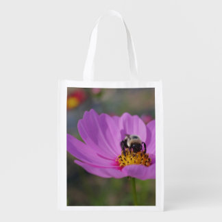 Bumble Bee On Pink Cosmos Flower