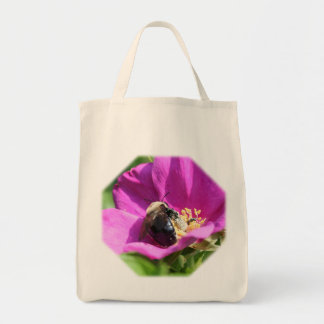 Bumble Bee On Rose Nature Tote Bag