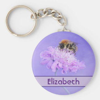 Bumble Bee Perched on a Pink Flower Personalized Basic Round Button Key Ring