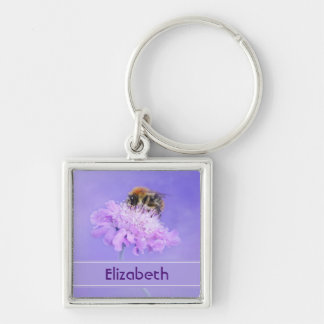 Bumble Bee Perched on a Pink Flower Personalized Silver-Colored Square Key Ring