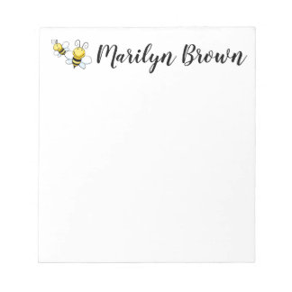 Bumble Bee Personalized Script Name Notepad