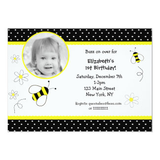 Bumble Bee Photo Birthday invitations