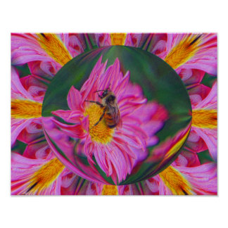 Bumble Bee Pink Daisy Abstract Nature Print