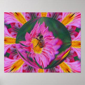 Bumble Bee Pink Daisy Abstract Nature Print