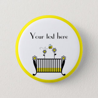 Bumble Bee Polka Dot Baby Shower 6 Cm Round Badge