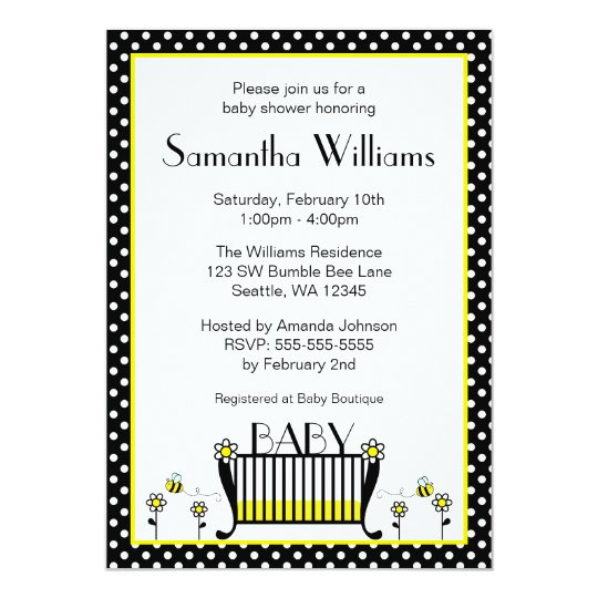 Bumble Bee Polka Dot Baby Shower Invitations