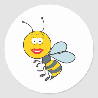 Bumble Bee Smiley Face Round Sticker