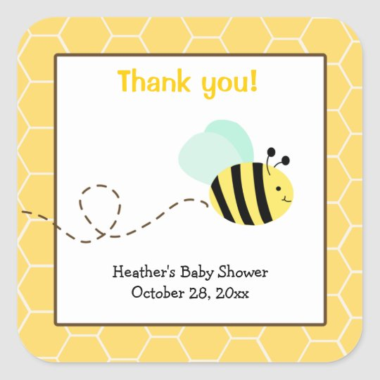 Bumble Bee Square Favour Stickers