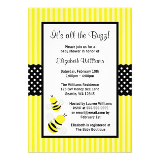 Bumble Bee Striped Dots Baby Shower Invitations Invitations