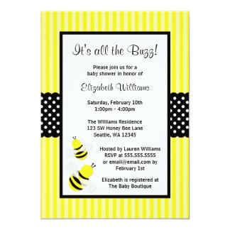 "Bumble Bee Striped Dots Baby Shower Invitations 5"" X 7"" Invitation Card"