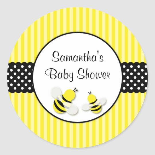 Bumble Bee Striped Polka Dots Baby Shower Classic