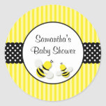 Bumble Bee Striped Polka Dots Baby Shower Round Sticker
