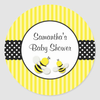 Bumble Bee Striped Polka Dots Baby Shower Classic Round Sticker
