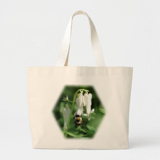 Bumble Bee White Columbine Floral Nature Tote Bag