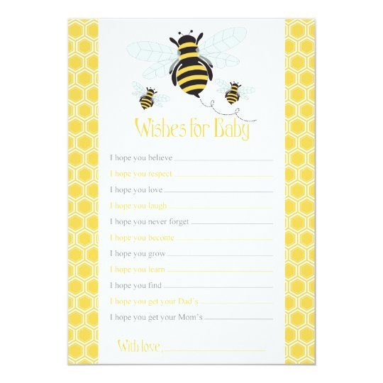 Bumble Bee Wishes for Baby Card-Baby Shower Game