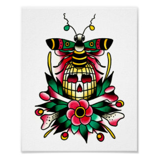 Bumble Bee with Bee Hive Skull and Crossbones Poster