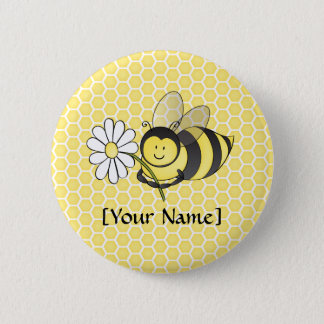 Bumble Bee with Daisy 6 Cm Round Badge