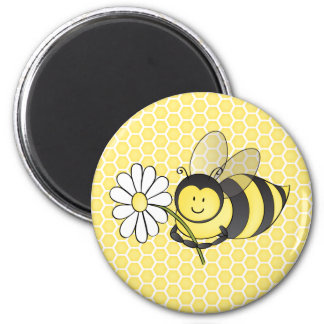 Bumble Bee with Daisy 6 Cm Round Magnet