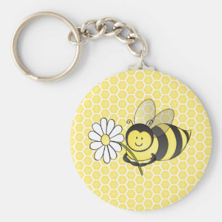 Bumble Bee with Daisy Basic Round Button Key Ring