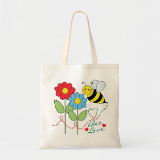 Bumble Bee With Flowers Bee Love Canvas Bags