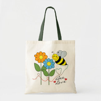 Bumble Bee With Flowers Bee Love Budget Tote Bag