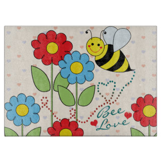 Bumble Bee With Flowers Bee Love Cutting Board