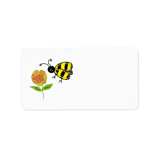 Bumble Bee with Orange Flower Address Label
