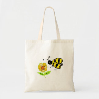 Bumble Bee with Yellow Flower Budget Tote Bag