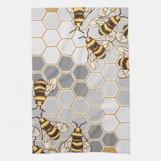 Bumble Bees Grey Honeycomb Tea Towel