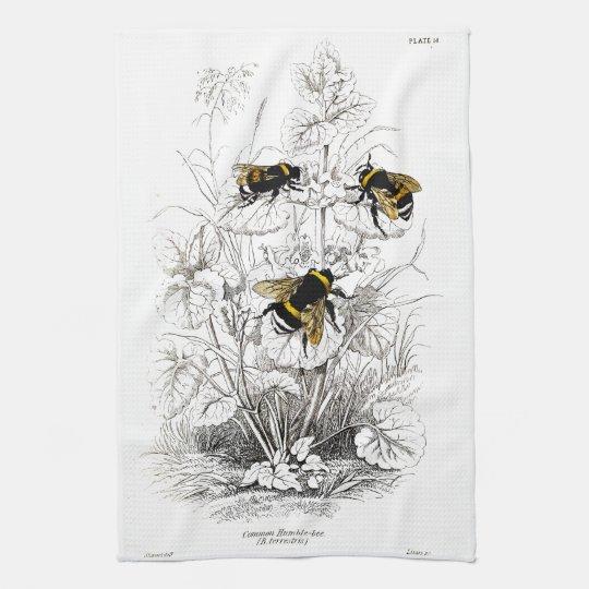 Bumble bees tea towel