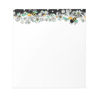 Bumble Bees White Daisies and Black Polka Dots Notepad