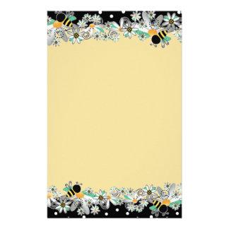 Bumble Bees White Daisies and Black Polka Dots Stationery