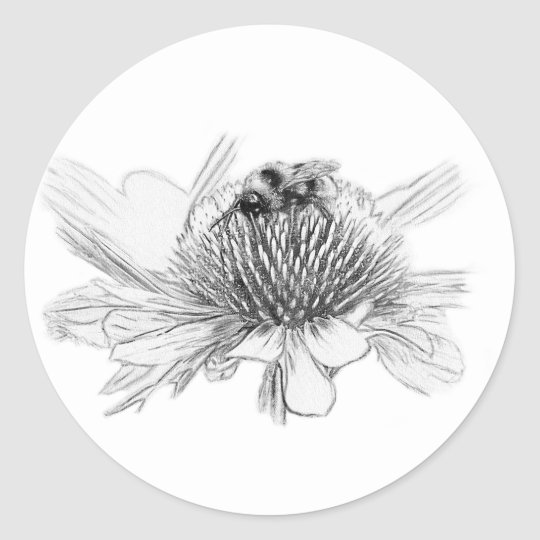 Bumblebee and flower classic round sticker