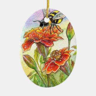 Bumblebee And Marigold, Iris Ceramic Oval Decoration