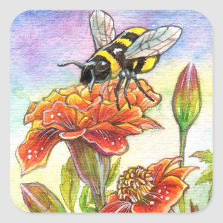 Bumblebee And Marigold Square Sticker